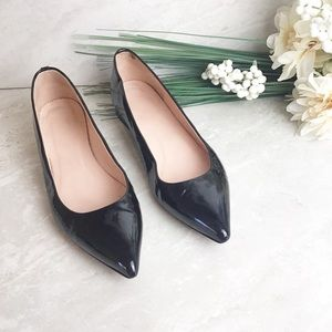 J. Crew Black Patent Leather Pointy Toe Flats